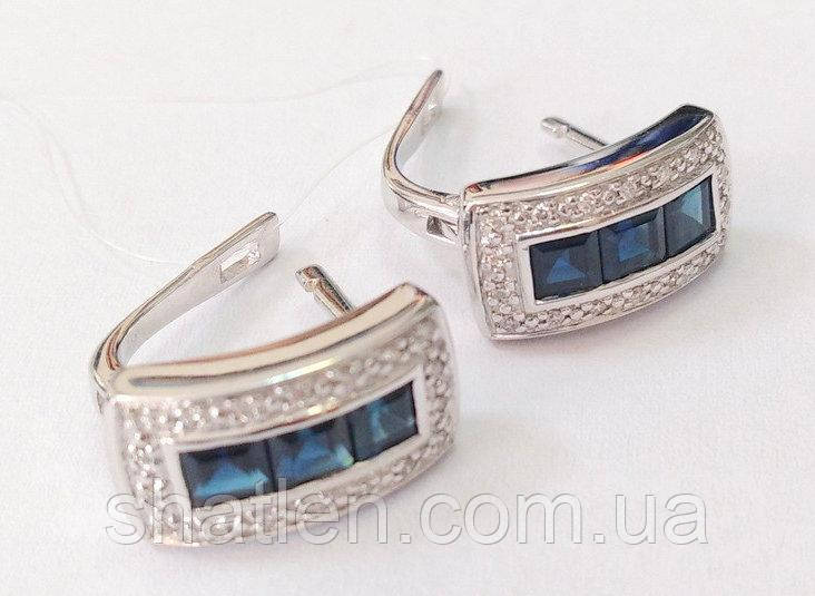 Золоті сережки з діамантами і сапфірами