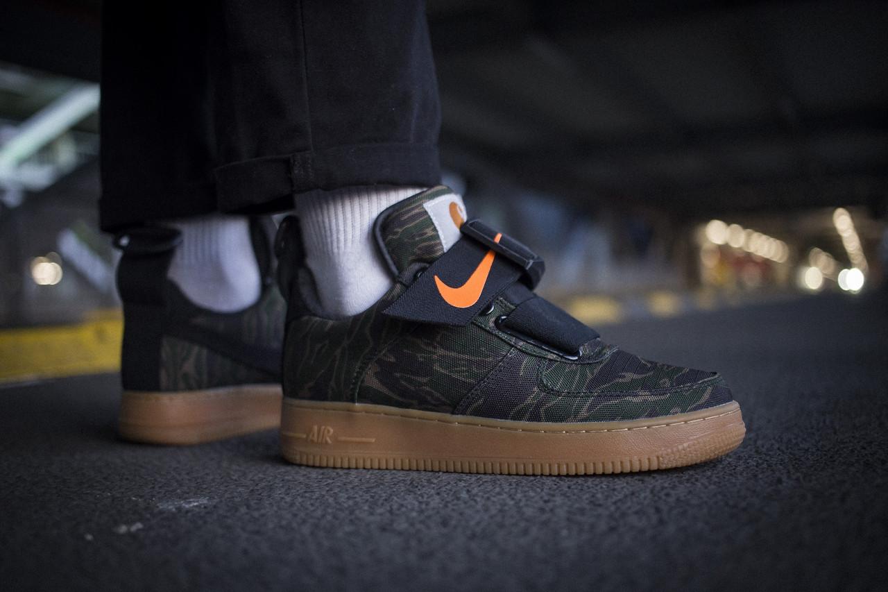 Мужские кроссовки Nike Air Force 1 Utility Low Premium Carhartt WIP Camo Green ( Реплика )