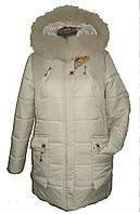 Зимняя куртка с мехом, цвет шампань и бирюза р 44-54, фото 1