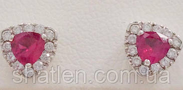 Золотые серьги с бриллиантами и рубинами с120-0016
