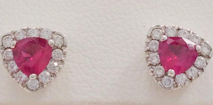 Золоті сережки з діамантами та рубінами с120-0016