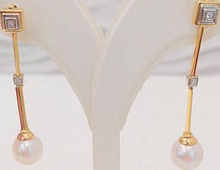 Золотые серьги с бриллиантами и жемчугом 31408201