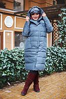 Женская куртка по колено с капюшоном большие размеры
