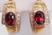 Золотые серьги с бриллиантами и гранатом, фото 1