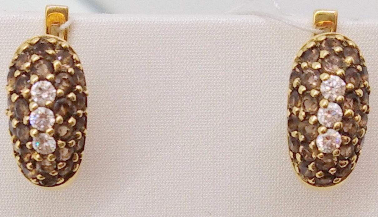 Золоті сережки з діамантами і раухтопазом