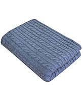 Плед вязаный шерсть/акрил 220х240 SOFT коси Синій меланж (+доставка Бесплатно)
