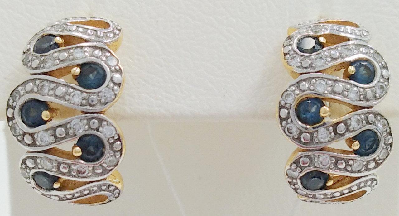 Золоті сережки з діамантами і сапфіром