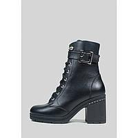 Зимние кожаные ботинки с пряжкой на широком каблуке, фото 1