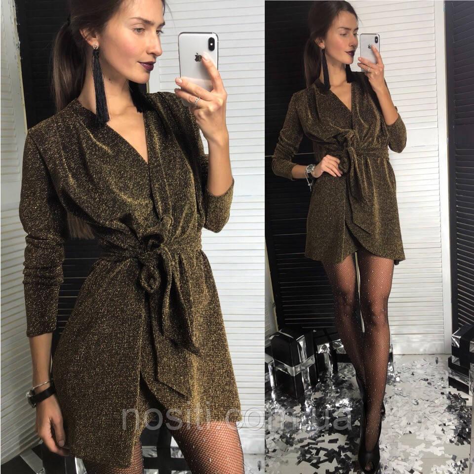 Платье из люрекса с поясом и длинным рукавом