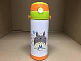 Термос детский питьевой с силиконовой трубочкой Тоторо 350 мл.(Белый), фото 2
