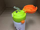 Термос детский питьевой с силиконовой трубочкой Тоторо 350 мл.(Белый), фото 4