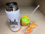 Термос детский питьевой с силиконовой трубочкой Тоторо 350 мл.(Белый), фото 5