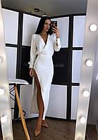 Сукня з костюмки з розрізом на нозі і верхи на запах r20mpl155