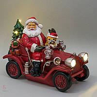 Статуэтка с подсветкой Дед Мороз на машине 004UW. Новогодний декор