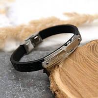 Мужской кожаный браслет Армани со вставкой из ювелирной стали 20,5 см 172513