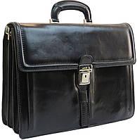 Большой мужской портфель из натуральной кожи TOMSKOR 81564 черный, фото 1