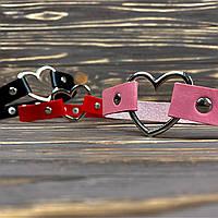 ● Чокер с сердечком на заклёпках ● Розовый