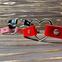● Чокер с сердечком на заклёпках ● Красный