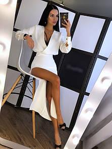 Платье из костюмки с разрезом на ноге и верхом на запах r20py155