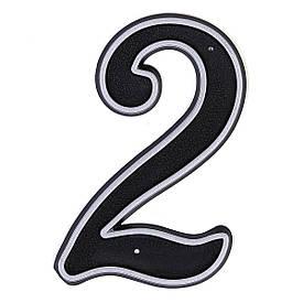 Номер пластиковый на дверь Larvij цифра 2 матовое серебро (LNP15 MS#2)