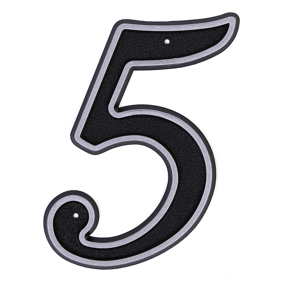 Номер пластиковый на дверь Larvij цифра 5 матовое серебро (LNP15 MS#5)