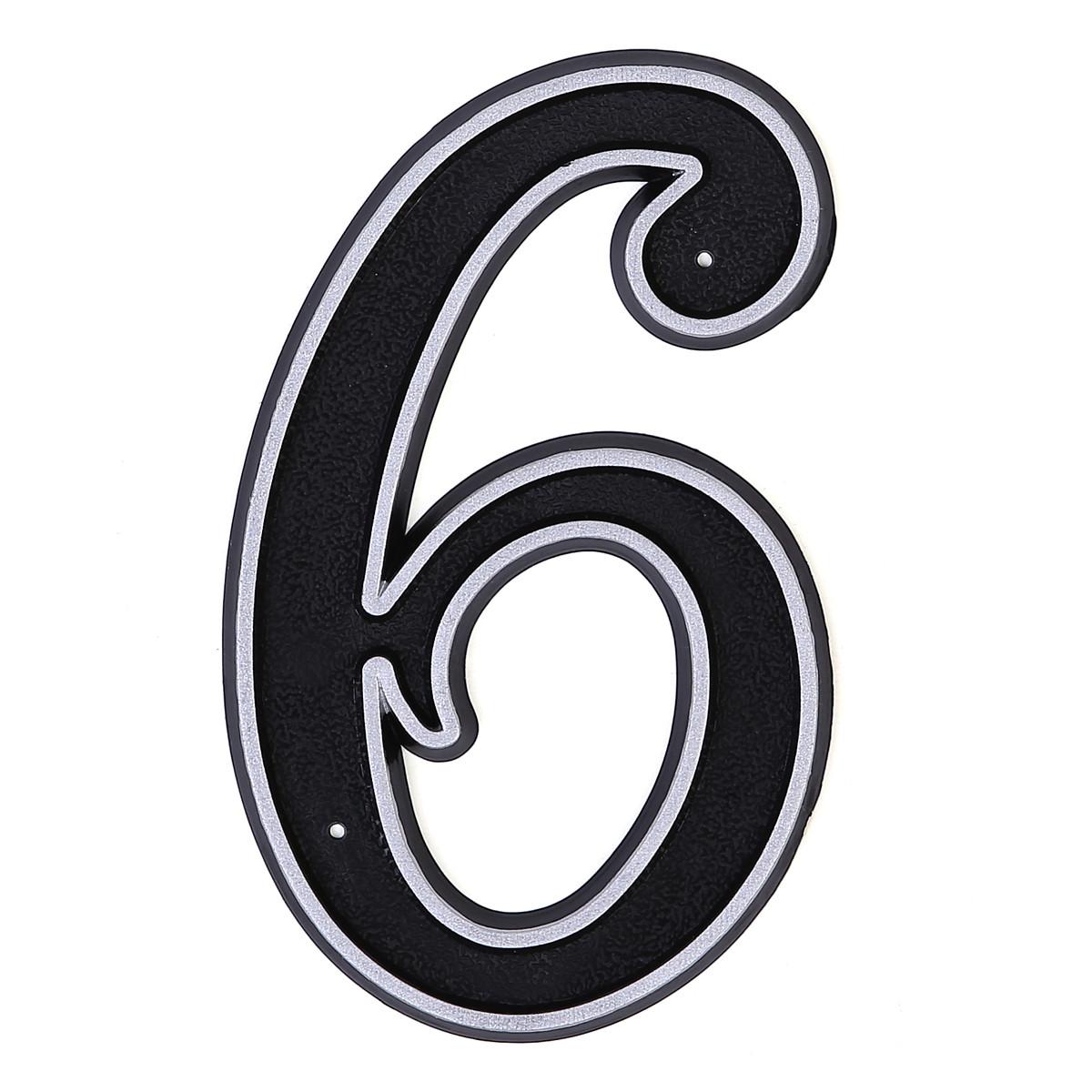 Номер пластиковый на дверь Larvij цифра 6 матовое серебро (LNP15 MS#6)