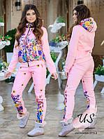 Женский  теплый прогулочный костюм с цветочным принтом. 3 цвета! Размеры 42-54!, фото 1