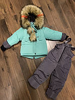 Зимний костюм на овчине (штаны на подтяжках и куртка)