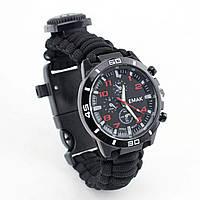 Годинник-браслет з паракорда для виживання EMAK WP363 чорний, фото 1