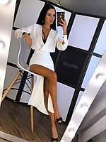 Платье из костюмки с разрезом на ноге и верхом на запах r2003155