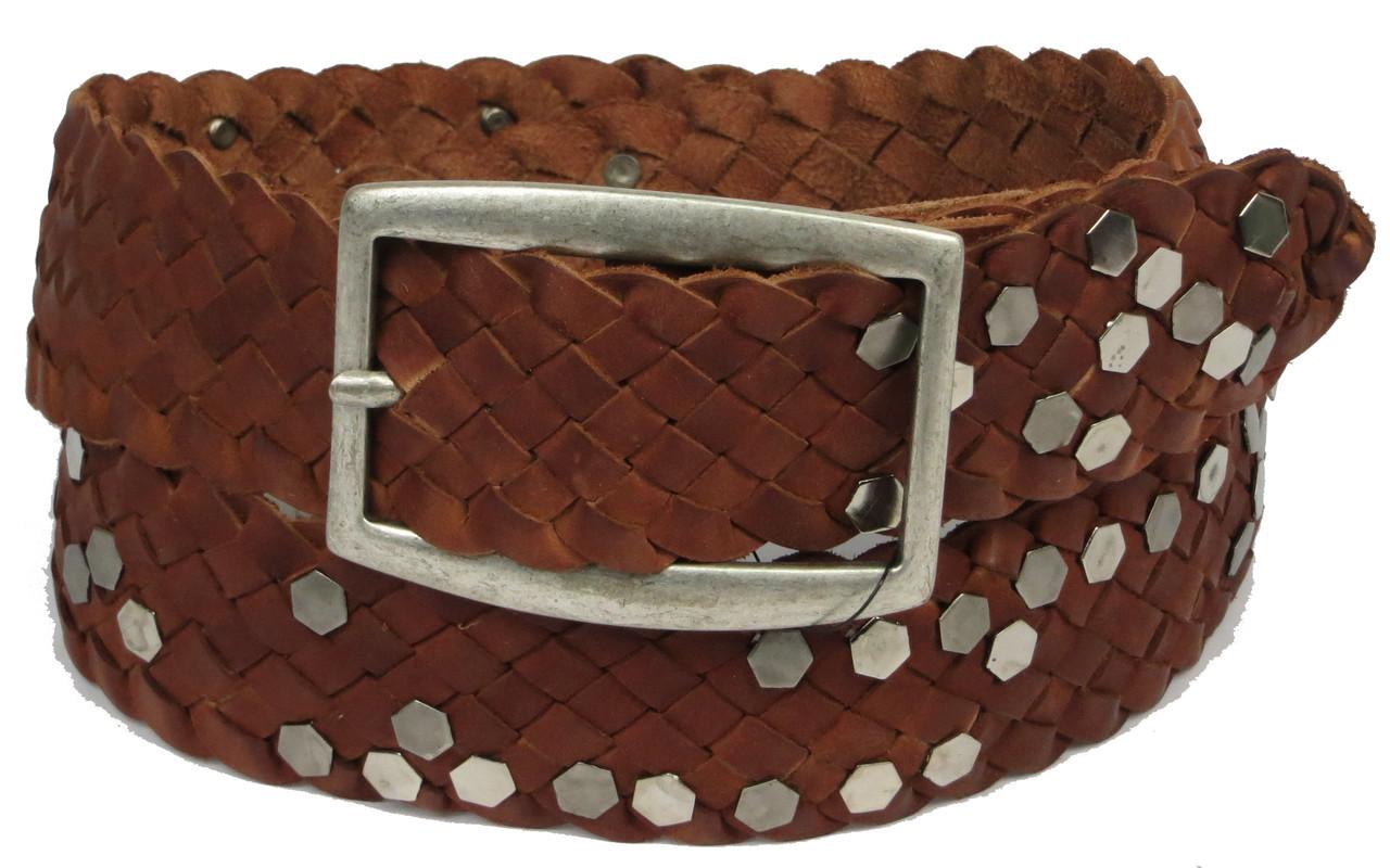 Женский кожаный ремень с заклёпками, Tom Tailor, Германия, 100137 коричневый, 4х113 см, фото 1