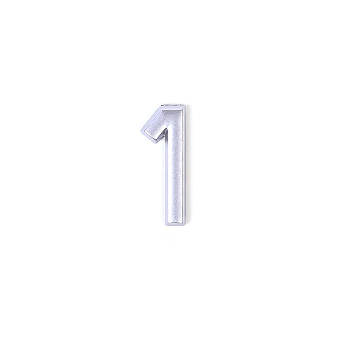 Номер на дверь Larvij цифра 1 матовое серебро. Номер из пластика (LNP4MS#1)