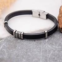 Мужской кожаный браслет со вставкой из ювелирной стали 21 см 172515