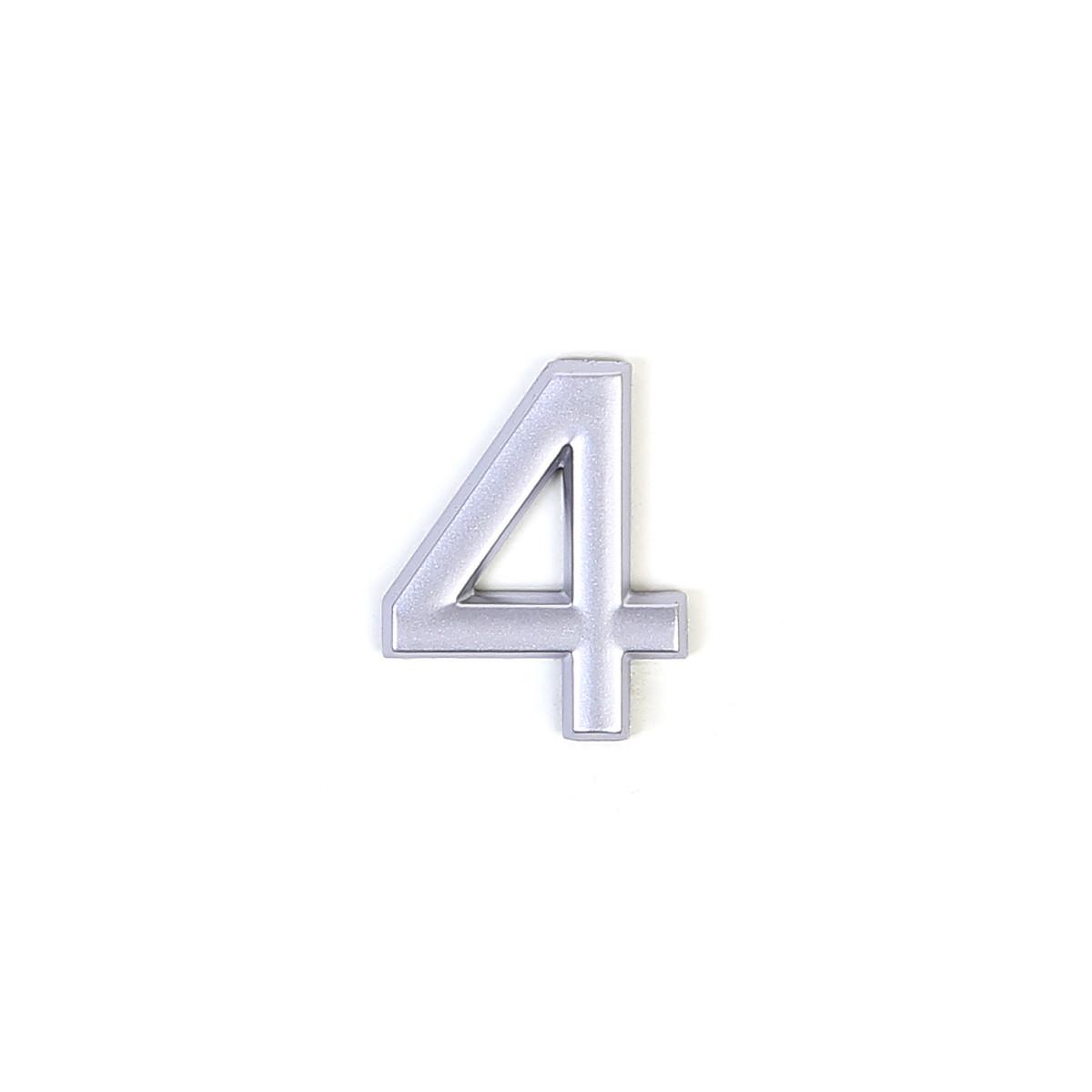 Номер на дверь Larvij цифра 4 матовое серебро. Номер из пластика (LNP4MS#4)