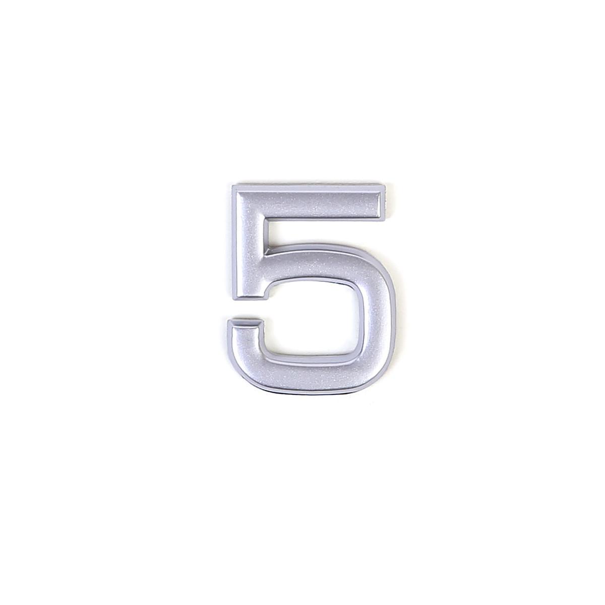 Номер пластиковый на дверь Larvij цифра 5 матовое серебро (LNP4MS#5)
