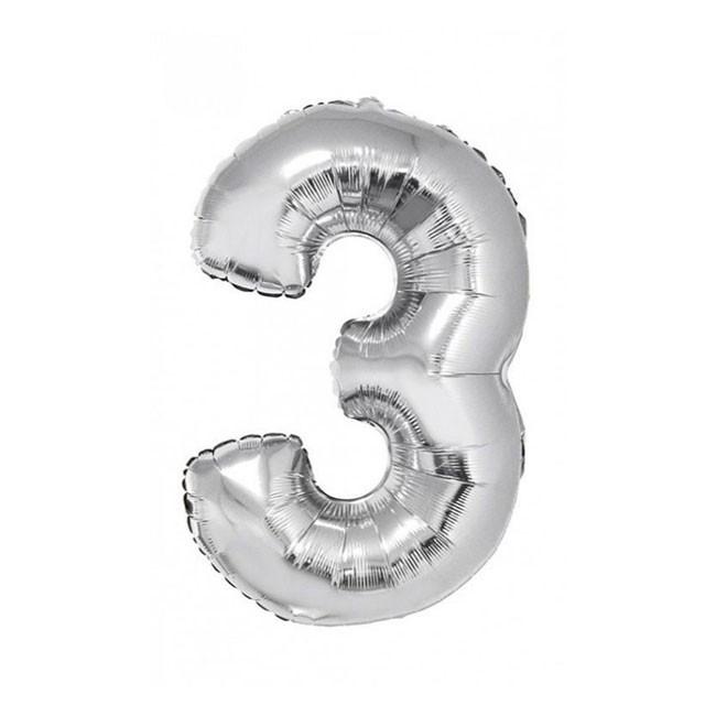 """Фольгированный воздушный шар Цифра """"3"""" 90 см Серебро"""