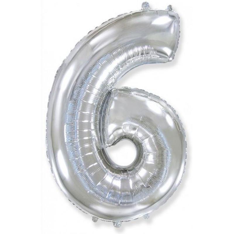 """Фольгированный воздушный шар Цифра """"6"""" 90 см Серебро"""