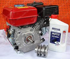 Двигатель бензиновый 168F 7 л.с вал 19 мм шпонка+шкив 3-х руч. проф А+масло