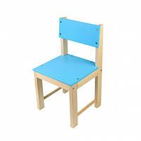 Деревянный детский стульчик со спинкой (сосна) 32 см Голубой