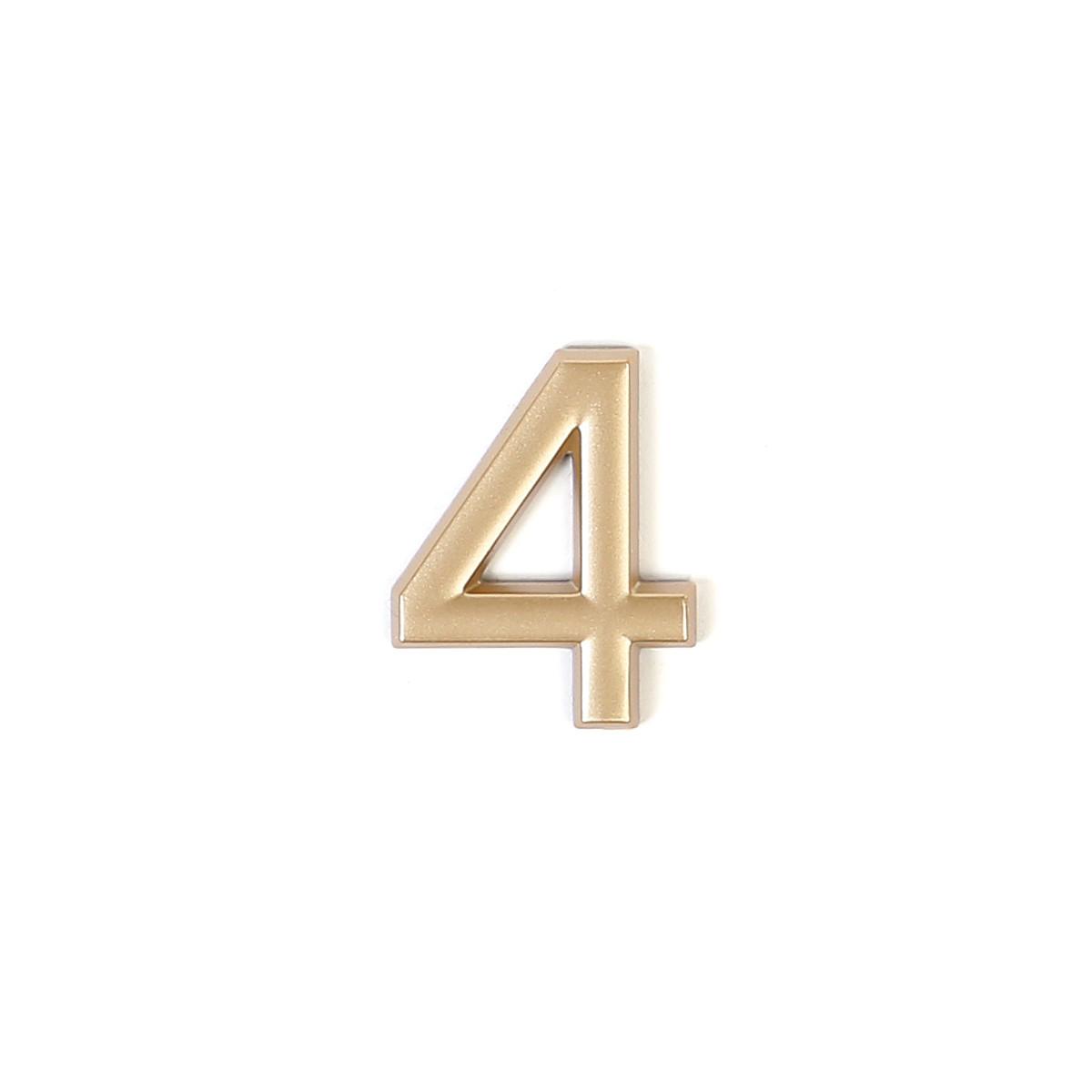Номер пластиковый на дверь Larvij цифра 4 матовое золото (LNP4MG#4)