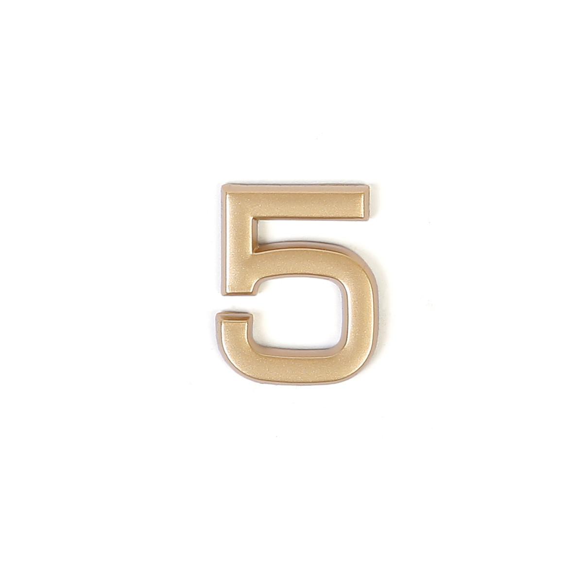 Номер на дверь Larvij цифра 5 матовое золото. Номер из пластика (LNP4MG#5)