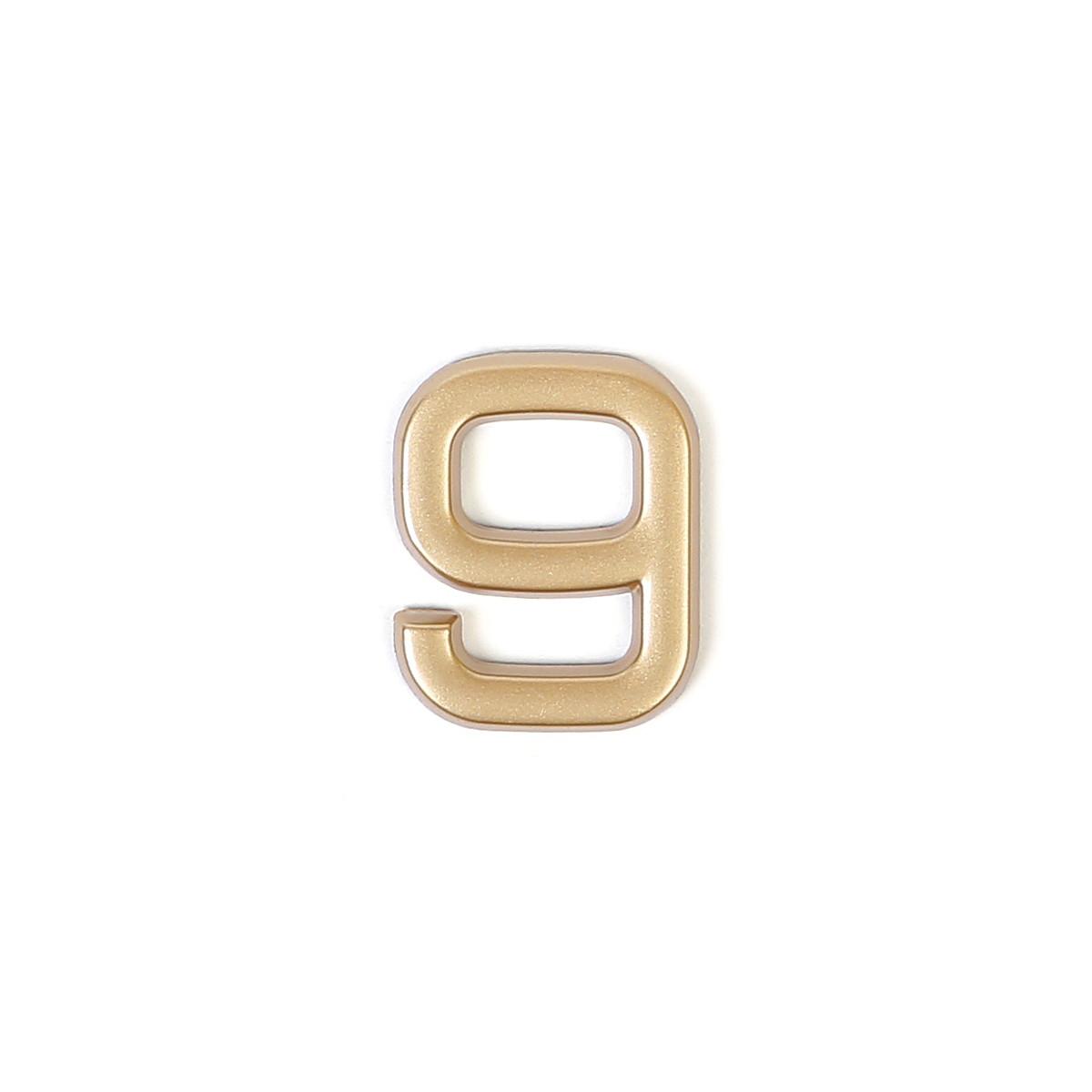 Номер на дверь Larvij цифра 9 матовое золото. Номер из пластика (LNP4MG#9)
