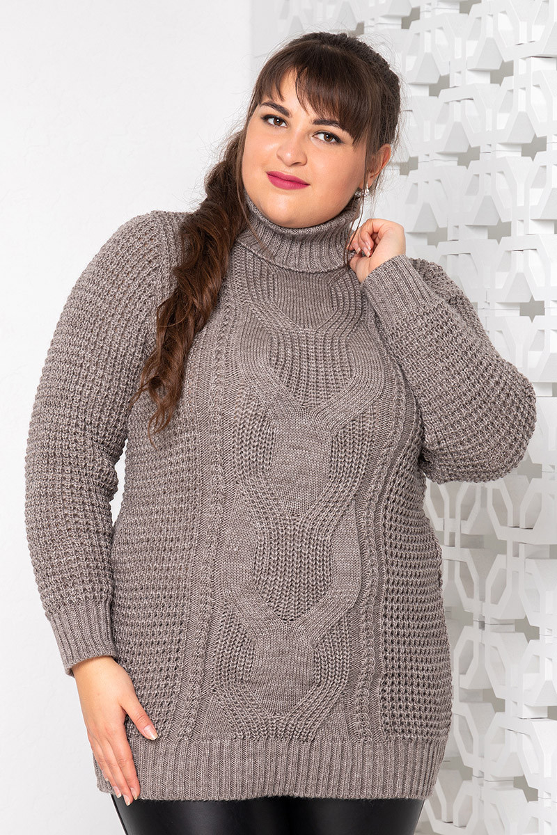 Вязаный свитер для полных женщин Кукуруза беж