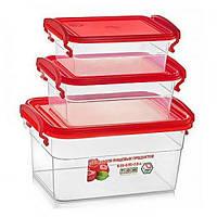 Судки пластиковые (набор контейнеров) для еды пищевой судочек 3шт Stenson (NP-62)