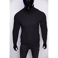 Свитер мужской теплый с высоким горлом Figo 6570 черный