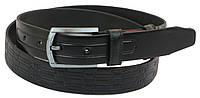 Мужской кожаный ремень под брюки Skipper 1057-33 черный ДхШ: 130х3,3 см., фото 1