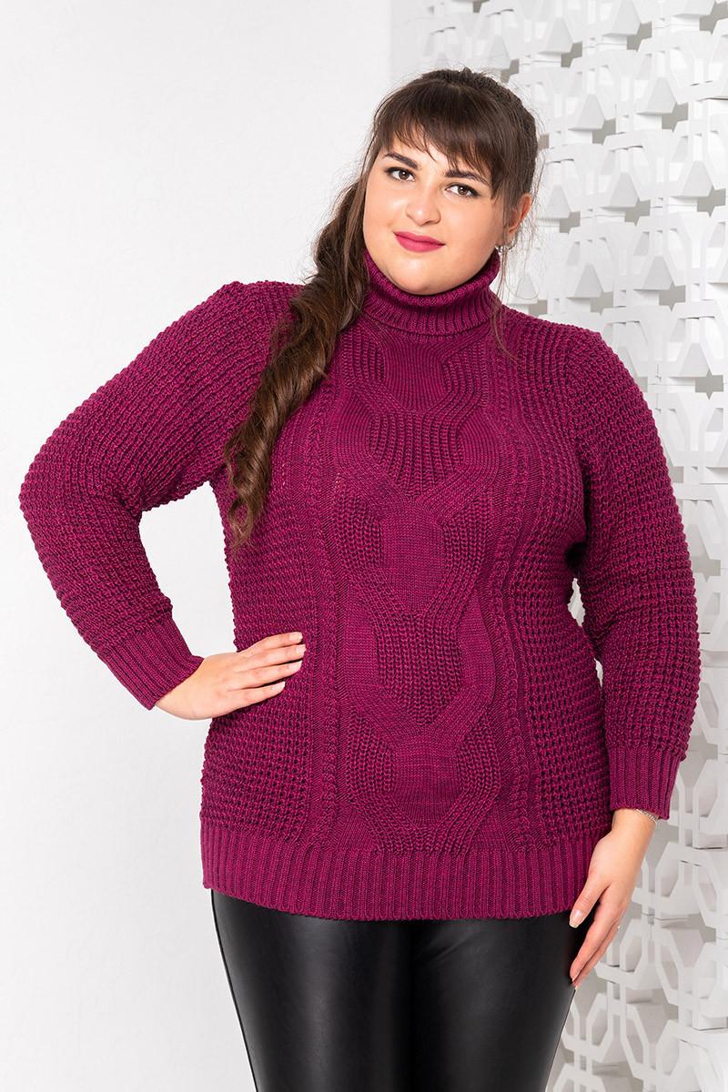 Большой теплый свитер для женщин Кукуруза малина