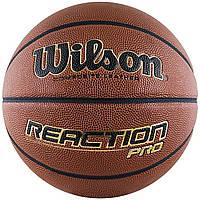 """Мяч баскетбольный Wilson REACTION PRO 29,5"""" размер 7 композитная кожа коричневый (WTB10137XB07)"""