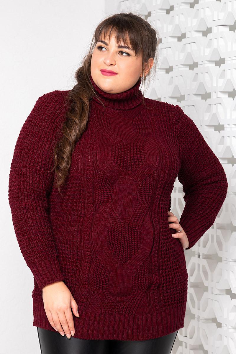 Теплый вязаный свитер больших размеров Кукуруза бордо