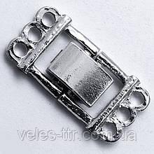 Замок засувка Кліпса з роздільником на 3 нитки сталь 25х14 мм